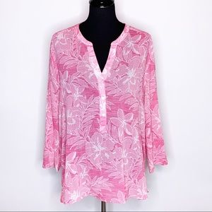 Tommy Bahama pink white floral popover top Large